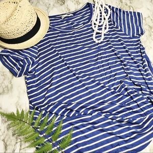 NWOT 💙 Blue & White Striped Knot Shirt